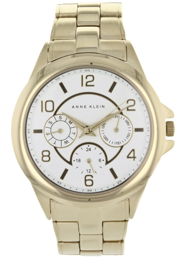 Price:$71.38 #watches Anne Klein AK-1026WTGB, Stainless steel case, Stainless steel bracelet, White dial, Quartz movement, Scratch-resistant mineral, Water resistant up to 3 ATM - 30 meters - 100 feet