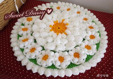 ひな菊の円座 (Crochet Seat Cushion - Daisy)