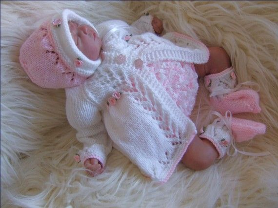 Baby Knitting Pattern - Download PDF Knitting Pattern - Baby Girls or Reborn Dolls Knitting Pattern - Matinee Set - Alisha