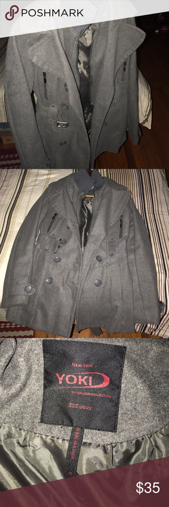 Grey pea coat It's a great casual jacket for spring or fall. Great condition. Too small for me. Materials it's made of. Shell: 90% polyester 10% wool. Cleaning: dry clean only. Yoki Jackets & Coats Pea Coats