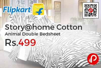 Flipkart is offering 47% off on Story@home Cotton Animal Double Bedsheet at Rs.499. Featuring attractive animal prints in a soothing color scheme, this bed sheet will take your room from drab to fab instantly, This double bedsheet, with 2 pillow covers, is made from 100% cotton and provides a soft, warm and comfortable feel, thanks to its super-absorbent quality.   http://www.paisebachaoindia.com/storyhome-cotton-animal-double-bedsheet-at-rs-499-flipkart/