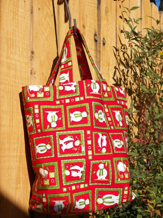 Noel Snowmen Red and Green Reusable Gift Bag by joliefemmebydiana