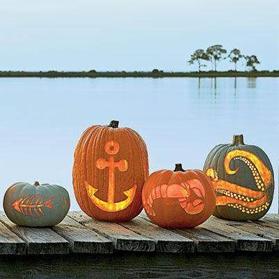 Pumpkin Carving Templates: fish bones, anchor, lobster, octopus, and more!