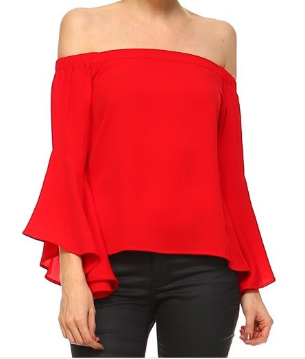 Red off the shoulder/ long sleeve/ off the shoulder / ootd / women's fashion / vacation outfit / summer time