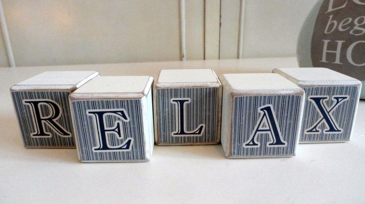 Relax word letters bathroom Ornament  Shabby chic wood block #unbranded