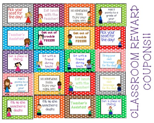 Classroom Reward Ideas Elementary ~ Classroom reward coupons teaching and