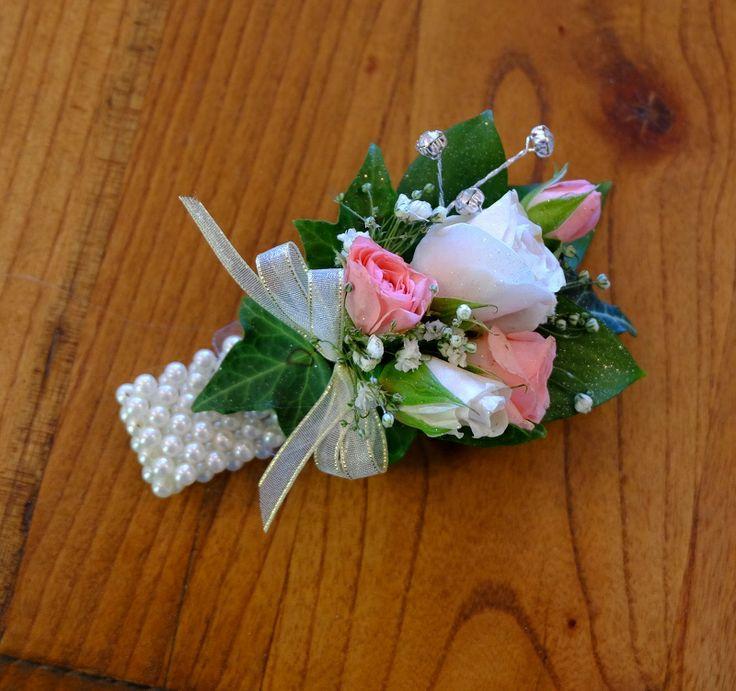 Soft Pink & Pink Rose, Gypsophila, White & Gold Ribbon, White Bracelet, Diamante - St Kents College Ball 2014  #rubyandblush#corsage