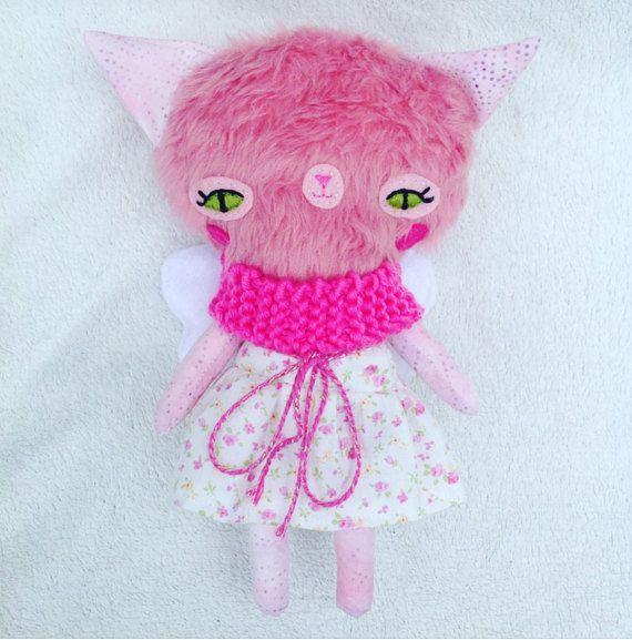 Katie Cat  Plush Dress up Doll Playset Art by UnicornGardenDolls