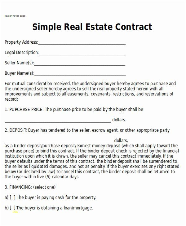 Simple Purchase Agreement Template Awesome Elegant Simple Real Estate Purchase Agreement Template In 2020 Real Estate Contract Things To Sell Purchase Agreement