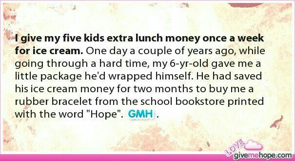 Saved his lunch money to buy bracelet that says hope
