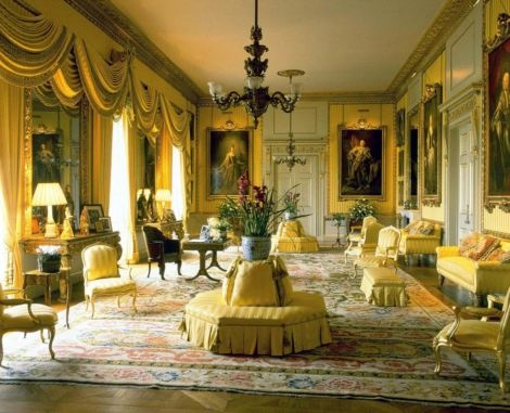 The Yellow Drawing Room at Goodwood House done in Regency scheme inspired  by French taste.