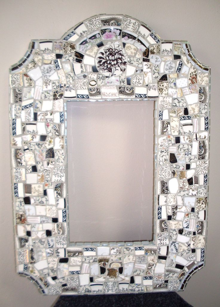 Mosaic mirror frame made with broken ceramics and glass mosaic tiles