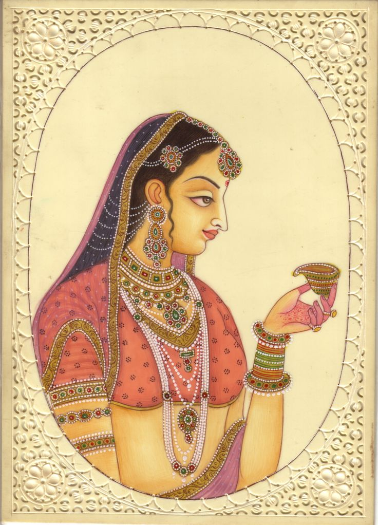 Indian Miniature Painting Handmade Lady of Love Watercolor Ethnic Wall Decor Art