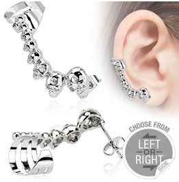 316 L Stainless Steel Cartilage Ear Cuff With Mini Cast Skulls Right Side