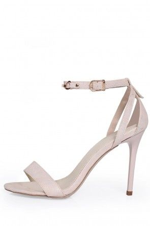 Tilly Ankle Strap Sandals in Nude Lizard