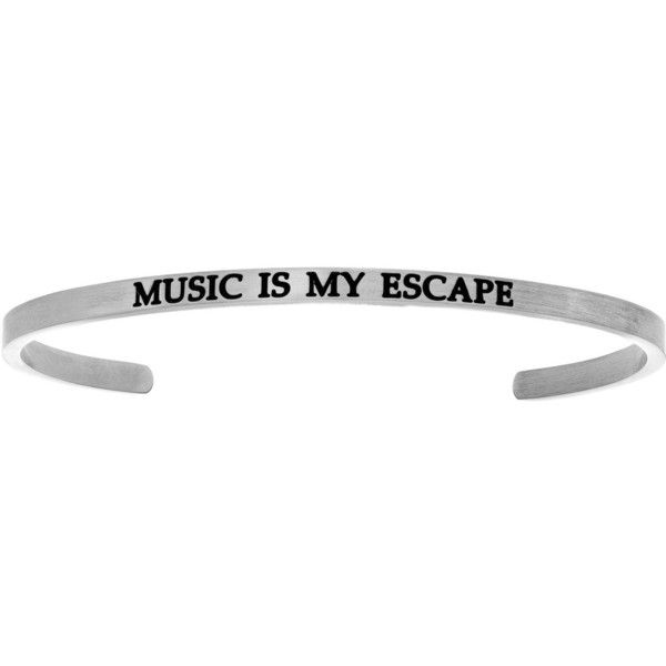 MUSIC IS MY ESCAPE Stainless Steel Cuff Bracelet w/ 0.005ctw Diamond ($35) ❤ liked on Polyvore featuring jewelry, bracelets, stainless steel bangles, hinged cuff bracelet, diamond bangles, cuff bangle and diamond jewellery