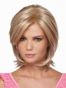 Gold Heat-resistant Fiber Straight Beautiful Womens Short Wig