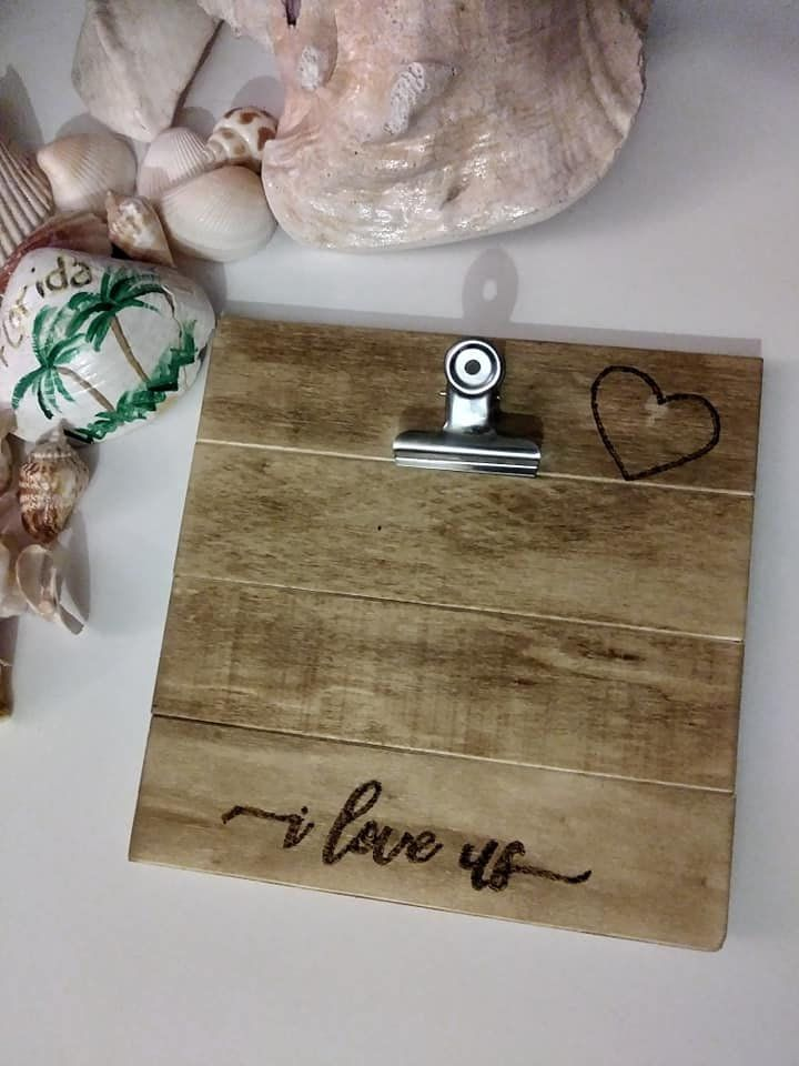I Love Us Wood Clip Photo Memo Frame Standing Frame Engraved Photo Holder Wood Clips Engraved Photo Frames Bunny Door Hanger
