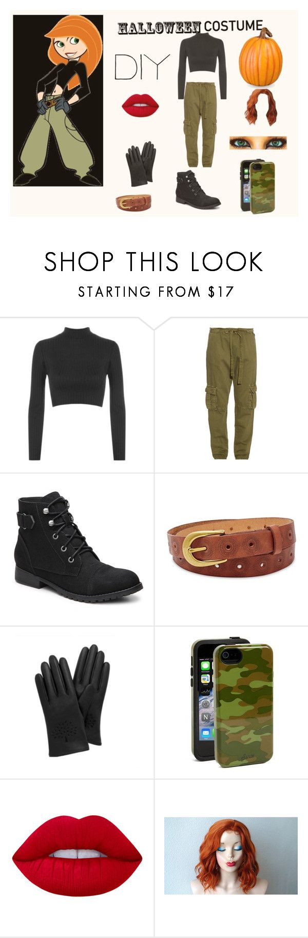 """Kim Possible Costume"" by anotherstudent on Polyvore featuring WearAll, Current/Elliott, Madden Girl, FOSSIL, Mulberry, Sonix, Lime Crime, Improvements, halloweencostume and DIYHalloween"