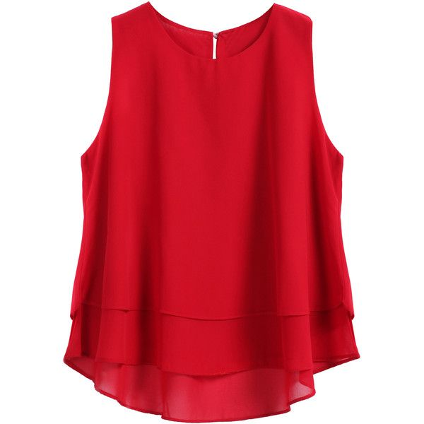 SheIn(sheinside) Red Round Neck Loose Dip Hem Chiffon Tank Top (123.700 IDR) ❤ liked on Polyvore featuring tops, shirts, tanks, blusas, red, cami shirt, red chiffon shirt, chiffon top, cami tank tops and loose tank