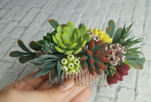 Comb with succulents from polymer clay,wedding succulent, clay succulent, bridal succulent, polymer clay, succulent hair accessory by WeddingClayFlowers on Etsy https://www.etsy.com/listing/500444193/comb-with-succulents-from-polymer