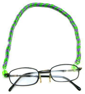 Correa para lentes con ligas de colores / Verde / Tejido con ligas