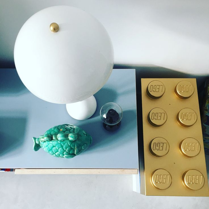 flowerpot lamp, legoboxes painted in gold