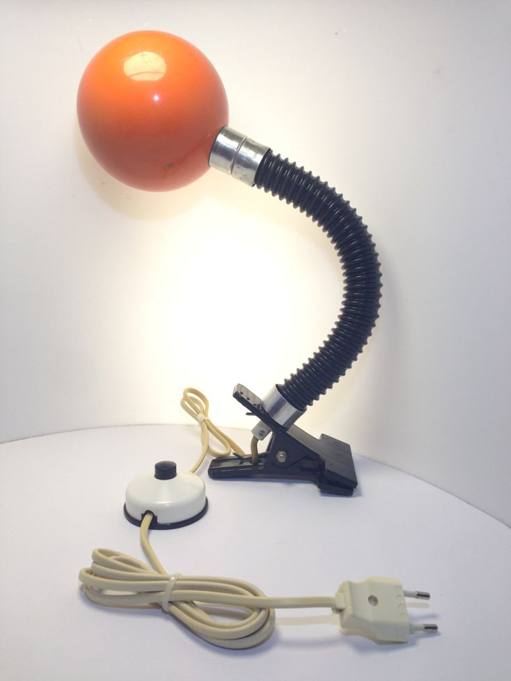 Scandinavian Desk Lamp, Bauhaus Clip Light, Original Orange Globe Shade, Gooseneck Bendy Adjustable Angle or Position, Red, Black, 1970 by TheLightFantastiK on Etsy https://www.etsy.com/listing/267642200/scandinavian-desk-lamp-bauhaus-clip