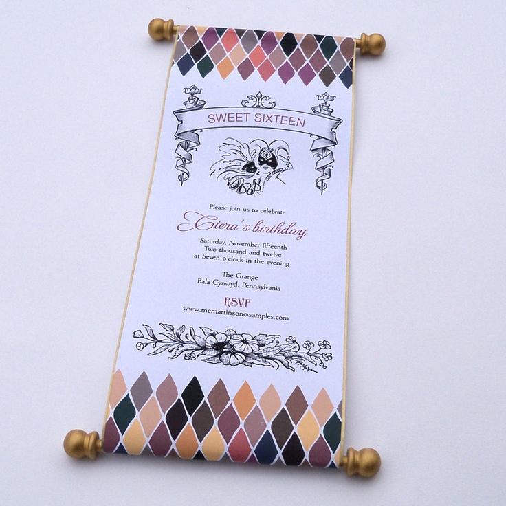 Masquerade ball birthday invitation scroll sweet sixteen mardi gras carnival - 10. $59.00, via Etsy.
