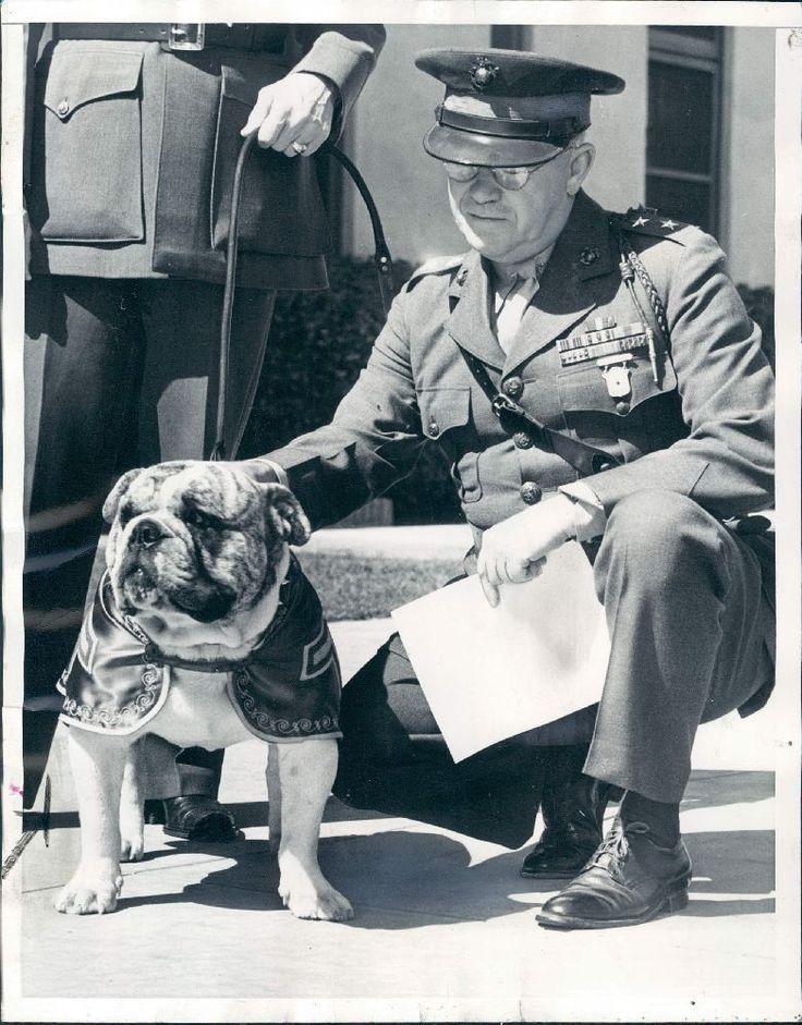 1940 US Marines Major General Thomas Holcomb & Mascot Dog Duffy Wire Photo
