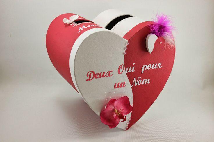 Urne de mariage coeur rouge et blanche l 39 atelier de for Decoration urne de mariage