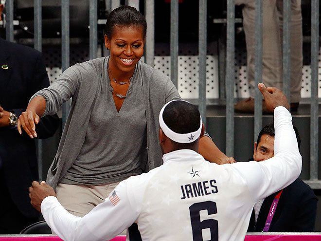 Michelle Obama Muscles | MICHELLE OBAMA photo | Michelle Obama with LeBron James
