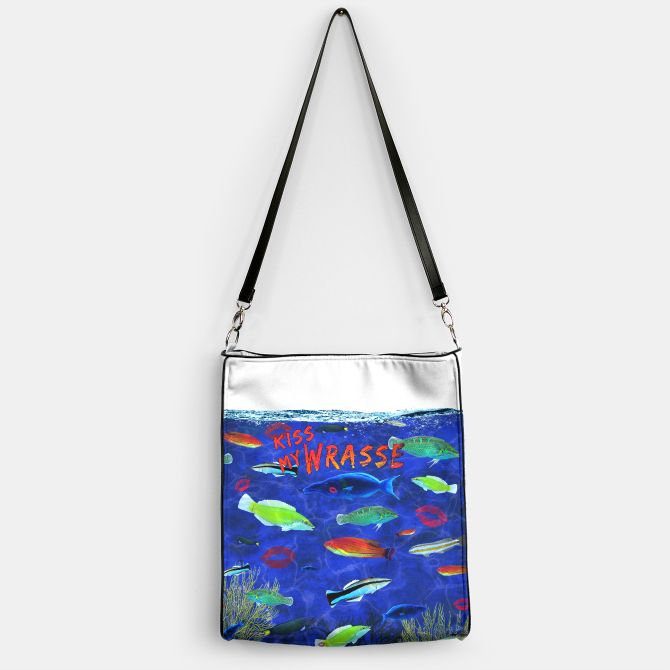 Kiss My Wrasse Fish  Handbag -   Keywords: kiss my wrasse, fish artwork, marine biology designs, fish humor, wildlife gifts, animal images, moon wrasse, pink-faced wrasse, cleaning wrasse, green wrasse, reef species art, types of wrasse fish, fish gift designs,  Ichthyology, life science designs, ocean designs, aquarium fish art, aquariums, oceans, aqua, coral reef art, bait shop decor, boat art, scuba designs, boat decor, fishermen gifts, fishing decor, man cave art, man cave designs