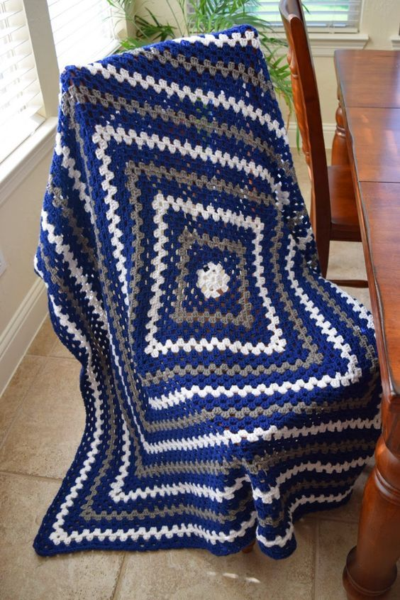 Crochet Granny Square Lap Blanket In Dallas Cowboys Colors
