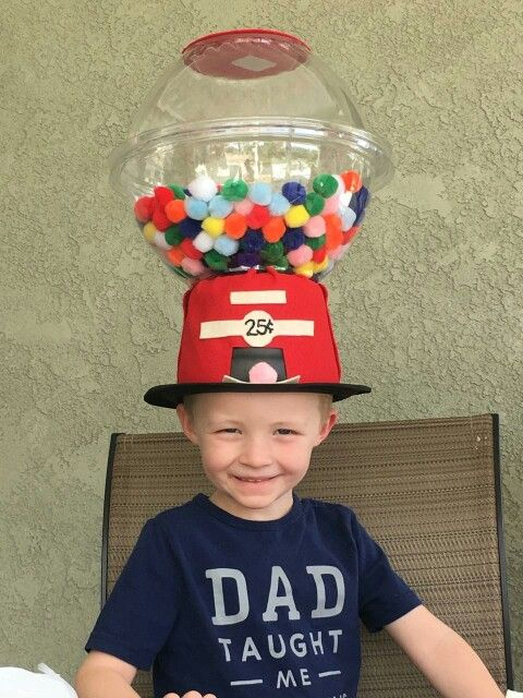 Crazy hat day, gumball hat, silly hat. 2 plastic bowls glued together.