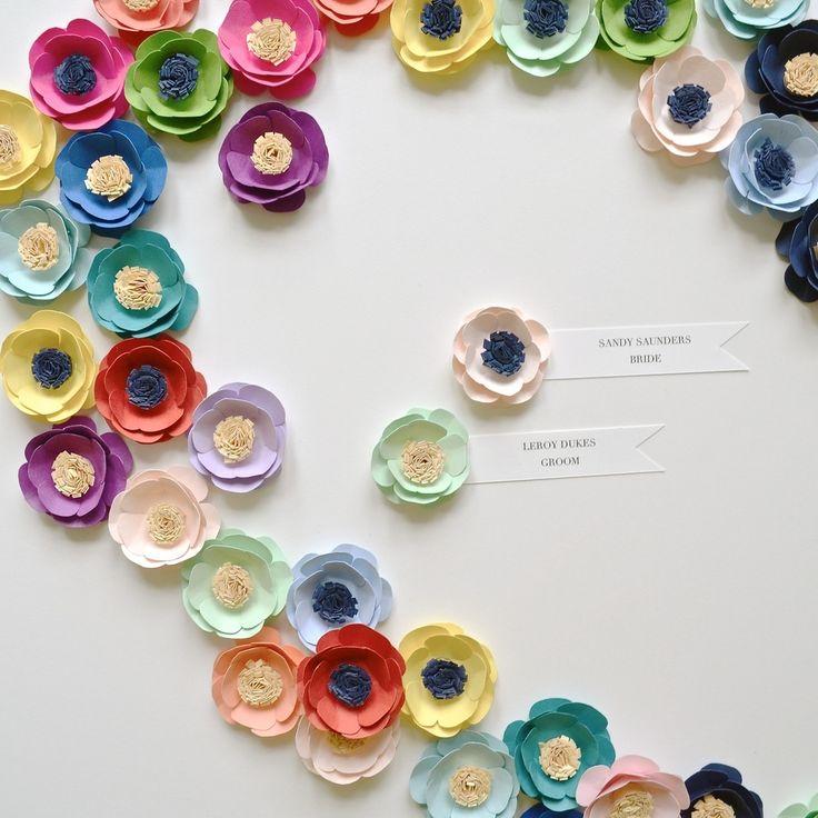 Paper flowers {set of four} you choose colors.