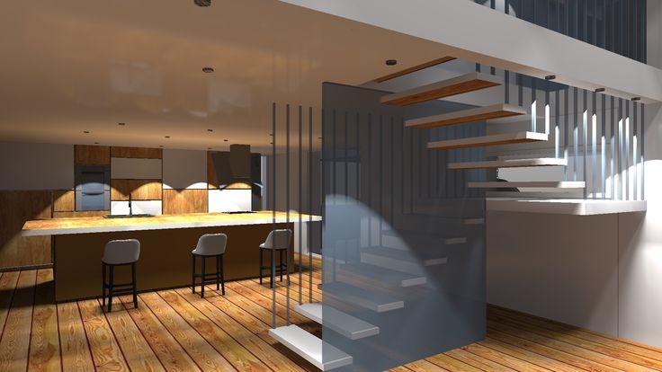 Projekt domu jednorodzinnego- kuchnia oraz klatka schodowa