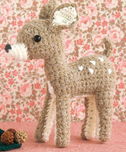 This cute, crafty critter is worked flat in straightforward double crochet stitches, stuffed and carefully sewn together with whipstitch. Finish him off with a bit of embroidery – little flashes of white on the hindquarters will really bring your fawn to life.
