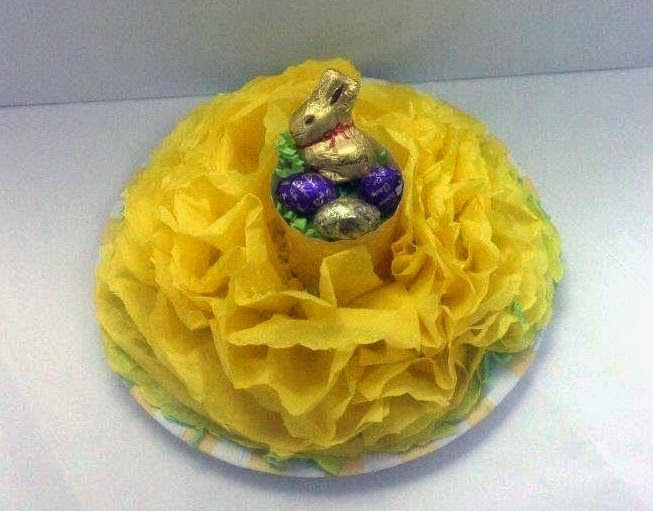DIY Easter Tissue flower centerpiece