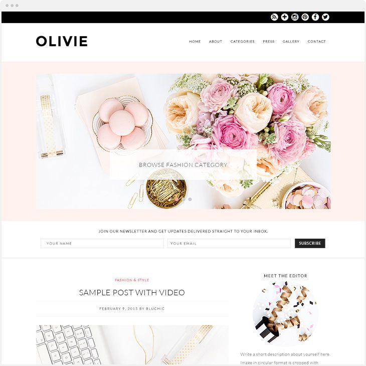 OLIVIE THEME - Black And White WordPress Theme For Women  Meet Olivie Theme; designed for fashion, beauty and lifestyle bloggers. This stylish theme comes with newsletter subscription section under slider.