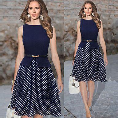 A-line Bateau Knee-length Polyester Semi-Formal Dress - USD $ 16.00