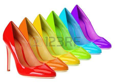 rainbow colours: Scarpe tacco alto in un arcobaleno di colori.