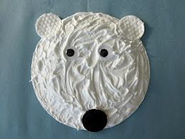 Polor bear craft- shaving cream and glue. Other crafts on this site.