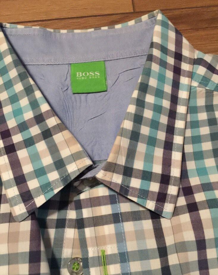 Hugo Boss Men's Shirt Long Sleeve Plaid Extra Large Blue Pink Green  | eBay