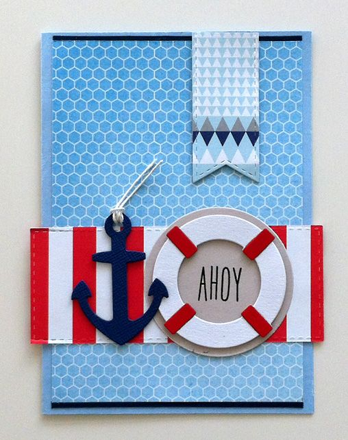 Card - kort - Karte - marine nautical anchor lifesaver sea ocean - maritim nautisk - anker og redningskrans - My Favorite Things dies Lets get nautical #mftstamps - JKE