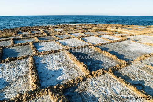Salt pans in Gozo, Malta Salt evaporation ponds located near Qbajjar on the maltese Island