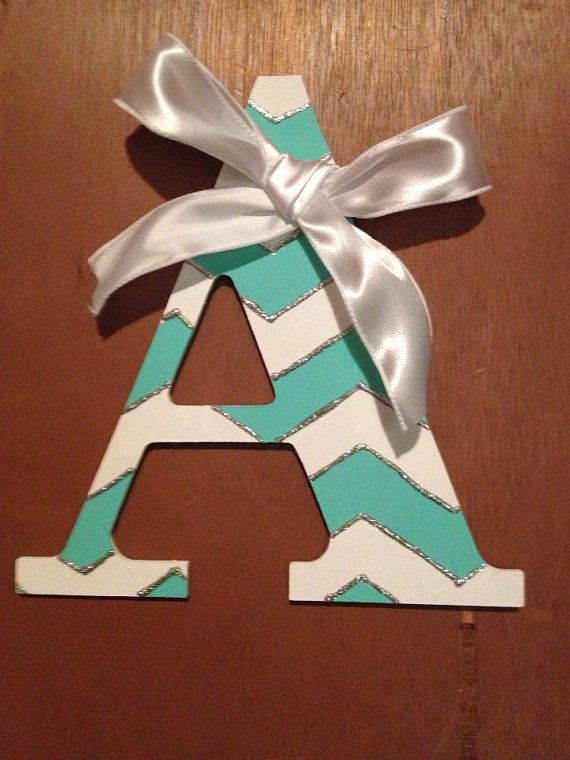 Single Initial Chevron Painted Wooden Letter on Etsy, $18.00