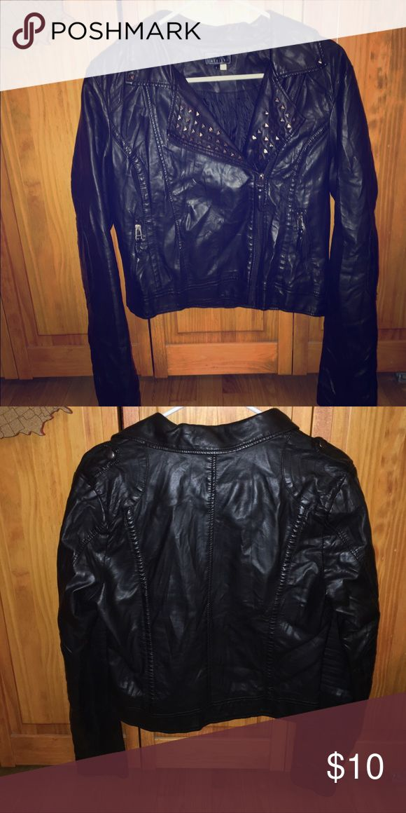 Black leather jacket All black leather jacket with studs on front; comfortable a...