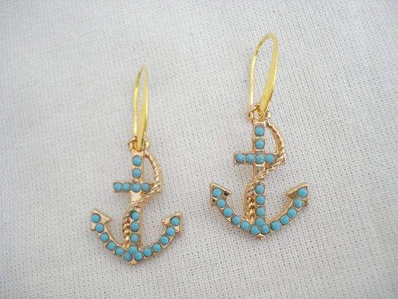 Turquoise gold anchor earrings Anchor charm dangles by Poppyg