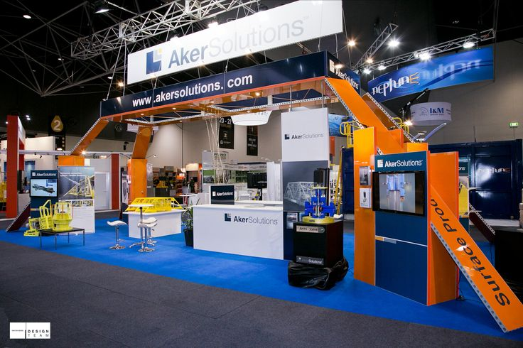 AKER SOLUTIONS Aker Solutions are a major operator in the global subsea market.  Exhibiting in both the Australian Oil and Gas and the APPEA conferences requires a flexible stand design that can populate a variety of stand sizes and heights. Technology and innovation are always the hero in the Aker Solutions display whilst application is a major draw card.